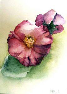 301-Fleur aquarelle 35x26