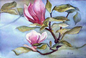 313-Magnolia-au-matin-aquarelle  50x40